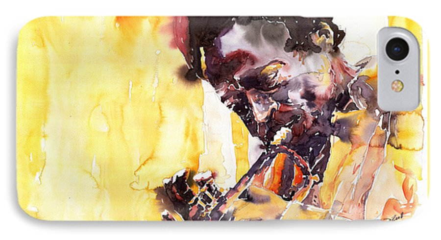 Jazz Music Watercolor Watercolour Miles Davis Trumpeter Portret IPhone 7 Case featuring the painting Jazz Miles Davis 6 by Yuriy Shevchuk