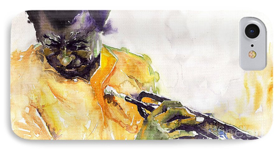 Davis Figurativ Jazz Miles Music Portret Trumpeter Watercolor Watercolour IPhone 7 Case featuring the painting Jazz Miles Davis 7 by Yuriy Shevchuk