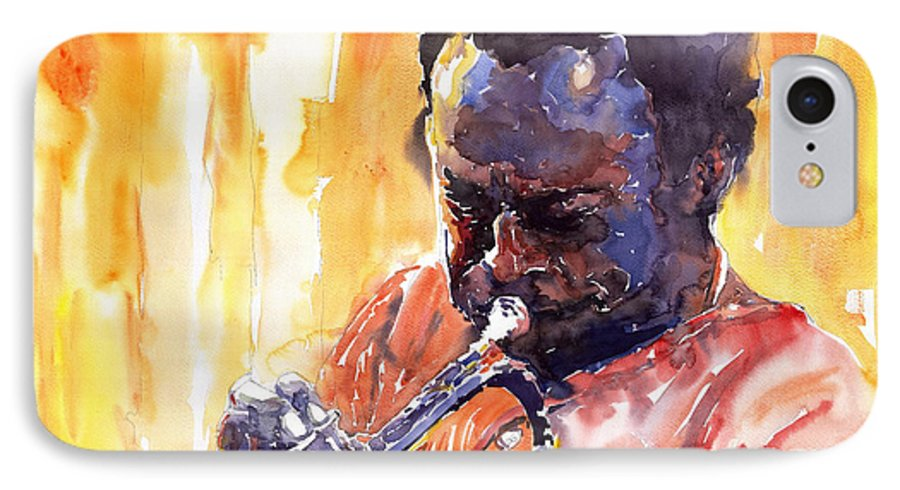 Jazz Miles Davis Music Watercolor Watercolour Figurativ Portret Trumpeter IPhone 7 Case featuring the painting Jazz Miles Davis 8 by Yuriy Shevchuk