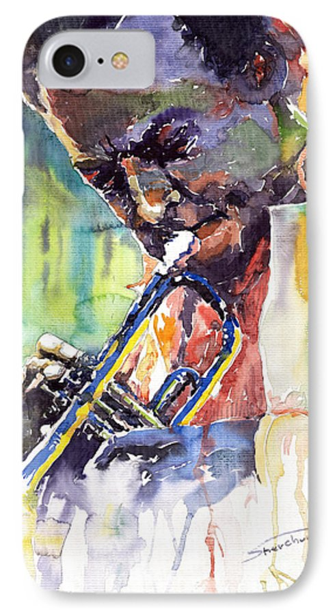 Jazz Miles Davis Music Musiciant Trumpeter Portret IPhone 7 Case featuring the painting Jazz Miles Davis 9 Blue by Yuriy Shevchuk