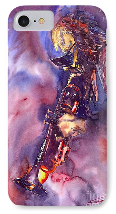 Davis Figurative Jazz Miles Music Musiciant Trumpeter Watercolor Watercolour IPhone 7 Case featuring the painting Jazz Miles Davis Electric 3 by Yuriy Shevchuk