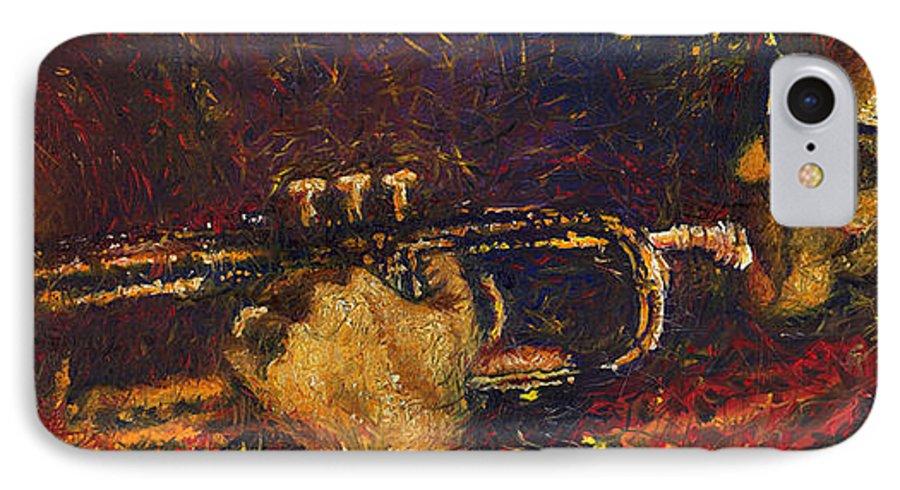 Jazz IPhone 7 Case featuring the painting Jazz Miles Davis by Yuriy Shevchuk