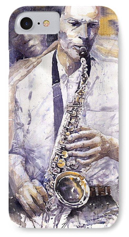 Jazz IPhone 7 Case featuring the painting Jazz Muza Saxophon by Yuriy Shevchuk