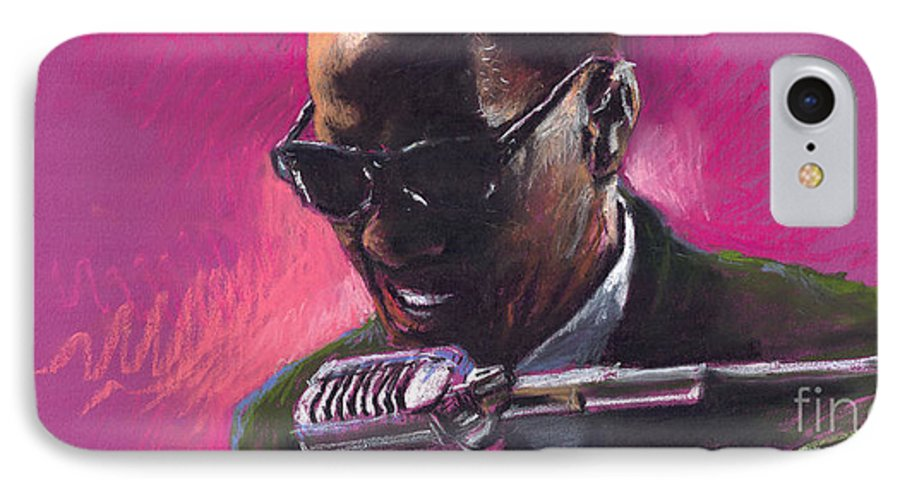 Jazz IPhone 7 Case featuring the painting Jazz. Ray Charles.1. by Yuriy Shevchuk