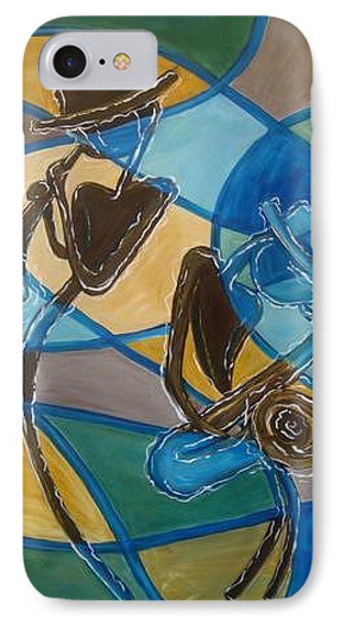 Jazz IPhone 7 Case featuring the painting Jazz Raz by Regina Walsh