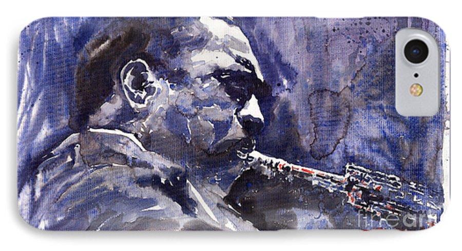 Jazz IPhone 7 Case featuring the painting Jazz Saxophonist John Coltrane 01 by Yuriy Shevchuk