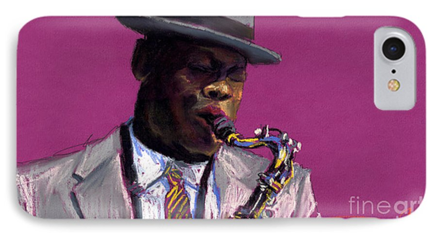 Jazz IPhone 7 Case featuring the painting Jazz Saxophonist by Yuriy Shevchuk