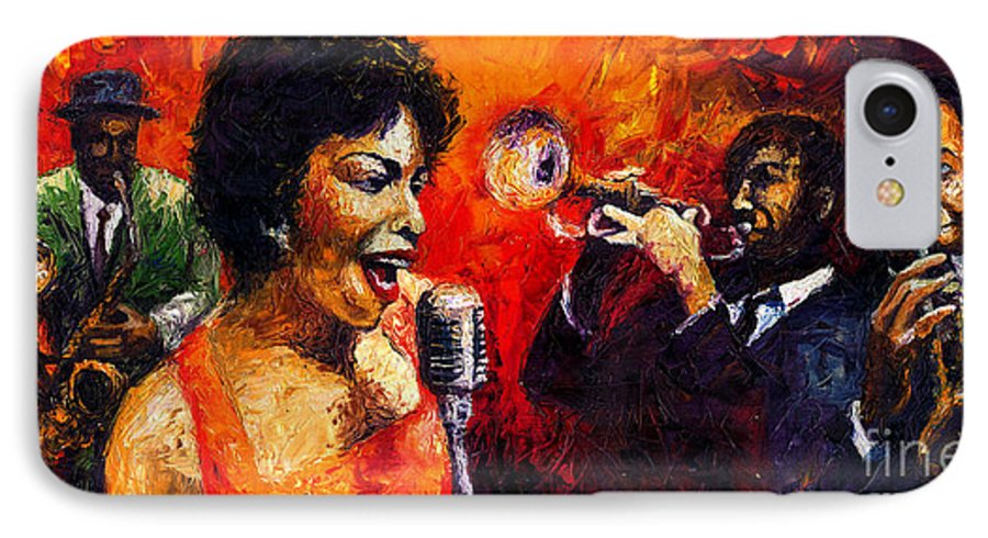 Jazz.song.trumpeter IPhone 7 Case featuring the painting Jazz Song by Yuriy Shevchuk