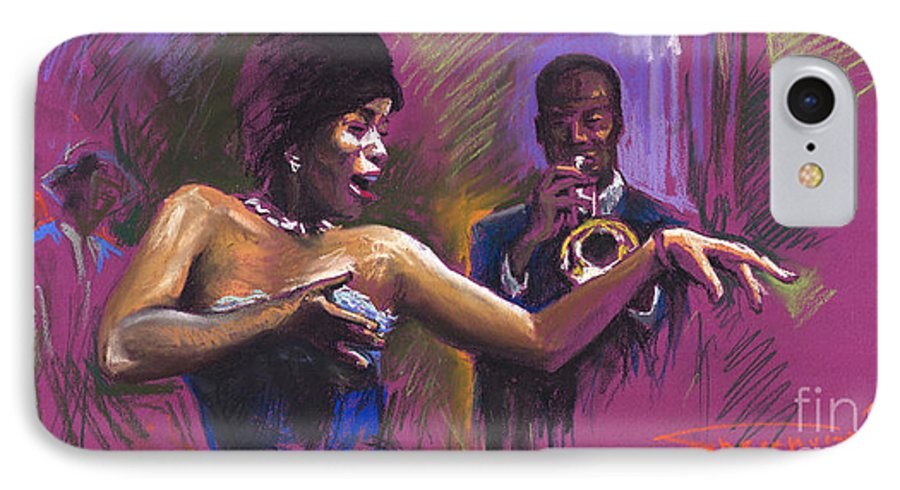 Jazz IPhone 7 Case featuring the painting Jazz Song.2. by Yuriy Shevchuk