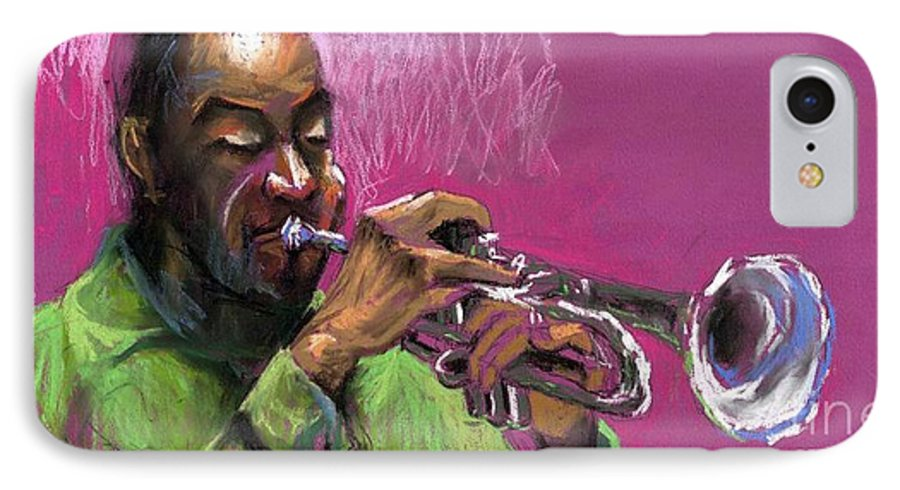 Jazz IPhone 7 Case featuring the painting Jazz Trumpeter by Yuriy Shevchuk