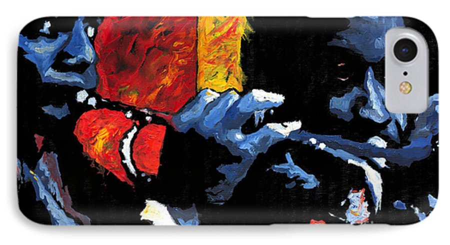 Jazz IPhone 7 Case featuring the painting Jazz Trumpeters by Yuriy Shevchuk