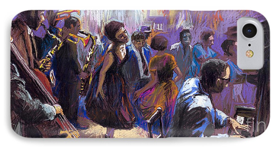 Jazz.pastel IPhone 7 Case featuring the painting Jazz by Yuriy Shevchuk
