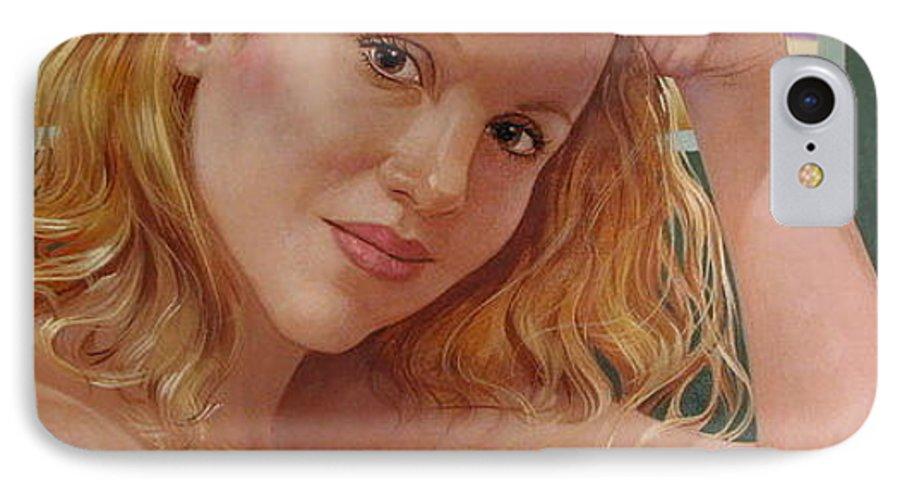 Portrait IPhone 7 Case featuring the painting Jenn Cornelius by Jerrold Carton