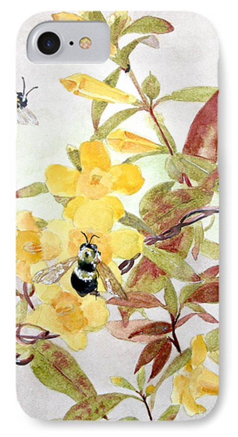 Jasmine IPhone 7 Case featuring the painting Jessamine Bee Mine by Jean Blackmer
