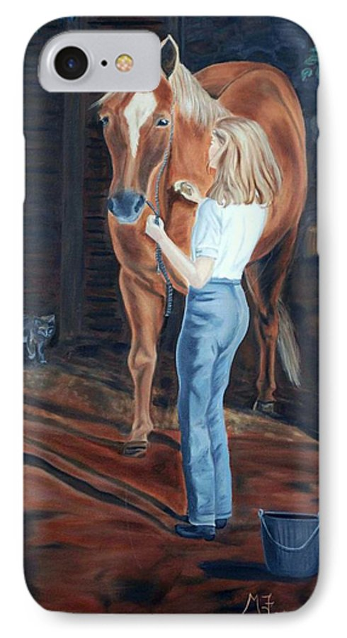 Horse IPhone 7 Case featuring the painting Jessica And Bunnie by Margaret Fortunato