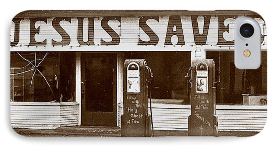 Jesus IPhone 7 Case featuring the photograph Jesus Saves 1973 by Michael Ziegler