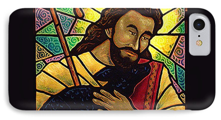 Jesus IPhone 7 Case featuring the painting Jesus The Good Shepherd by Jim Harris