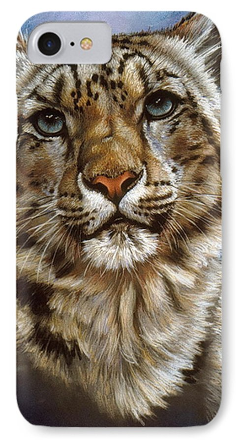 Snow Leopard IPhone 7 Case featuring the pastel Jewel by Barbara Keith