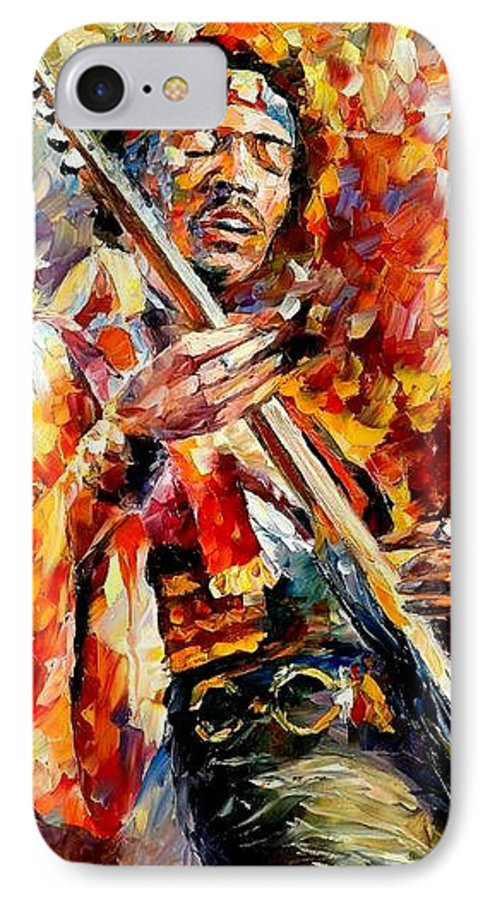 Music IPhone 7 Case featuring the painting Jimi Hendrix by Leonid Afremov