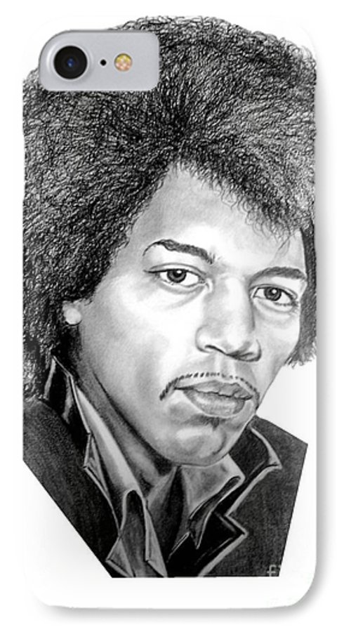 Jimmi Hendrix IPhone 7 Case featuring the drawing Jimmi Hendrix By Murphy Art. Elliott by Murphy Elliott