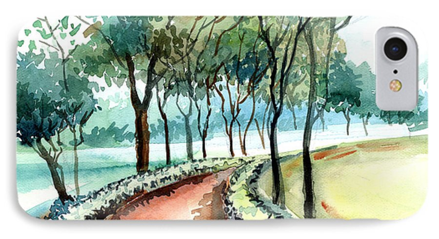 Landscape IPhone 7 Case featuring the painting Jogging Track by Anil Nene