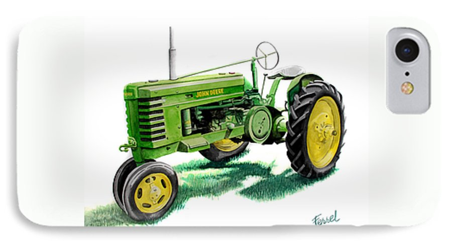 John Deere Tractor IPhone 7 Case featuring the painting John Deere Tractor by Ferrel Cordle