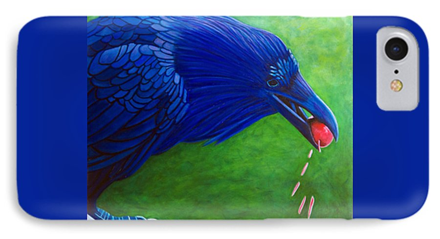 Raven IPhone 7 Case featuring the painting Joie De Vivre by Brian Commerford