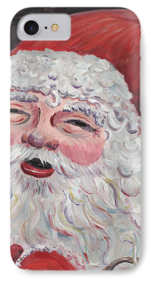 Santa IPhone 7 Case featuring the painting Jolly Santa by Nadine Rippelmeyer