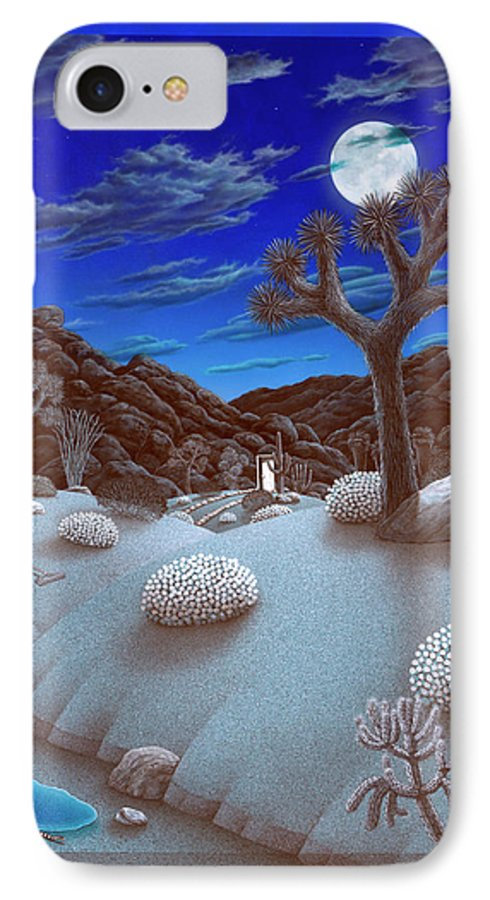 Landscape IPhone 7 Case featuring the painting Joshua Tree At Night by Snake Jagger
