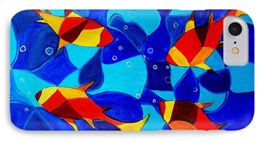 Abstract.acrylic.fish.bubbles.art.painting.modern.contemporary.popblue Red Bubbles Yellow Landscape IPhone 7 Case featuring the painting Joy Fish Abstract by Manjiri Kanvinde