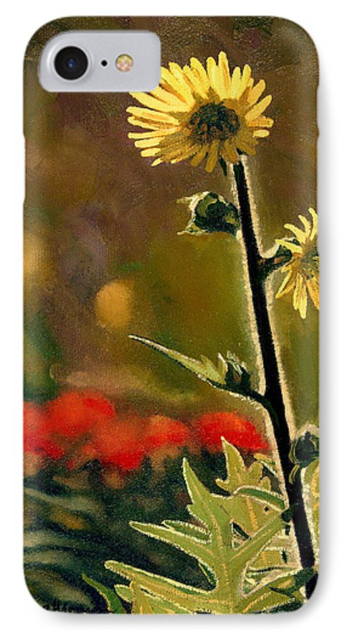 Prairie Flowers IPhone 7 Case featuring the painting July Afternoon-compass Plant by Bruce Morrison