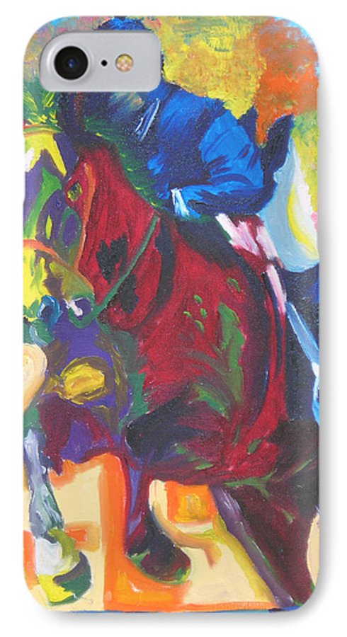 Horse Jumping IPhone 7 Case featuring the painting Jump Off by Michael Lee