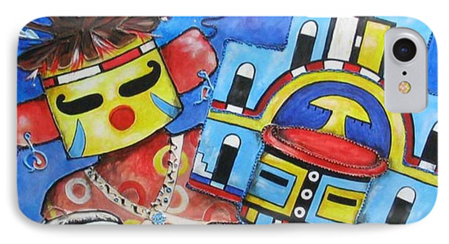 Native IPhone 7 Case featuring the painting Kachina Knights by Elaine Booth-Kallweit