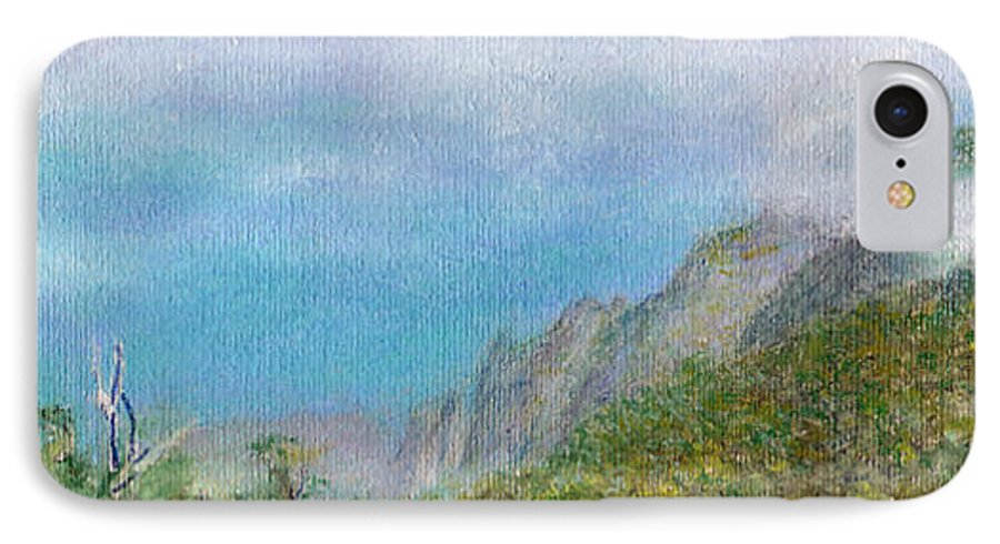 Rainbow Colors Pastel IPhone 7 Case featuring the painting Kalalau Mist by Kenneth Grzesik