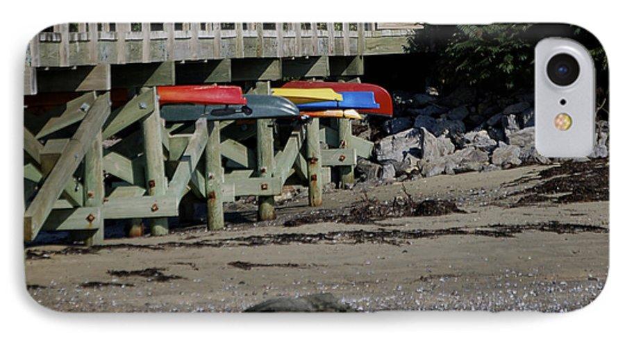Kayak IPhone 7 Case featuring the photograph Kayak Rack by Faith Harron Boudreau