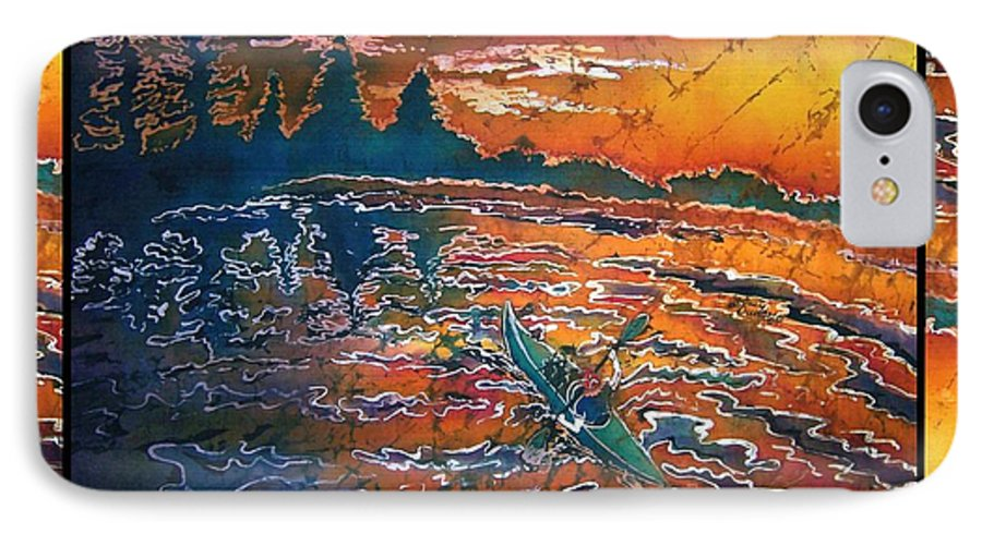 Kayak IPhone 7 Case featuring the painting Kayaking Serenity - Bordered by Sue Duda