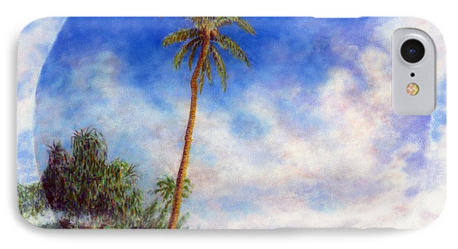 Rainbow Colors Pastel IPhone 7 Case featuring the painting Ke'e Palm by Kenneth Grzesik