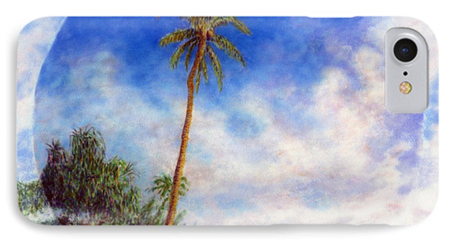 Rainbow Colors Pastel IPhone Case featuring the painting Ke'e Palm by Kenneth Grzesik