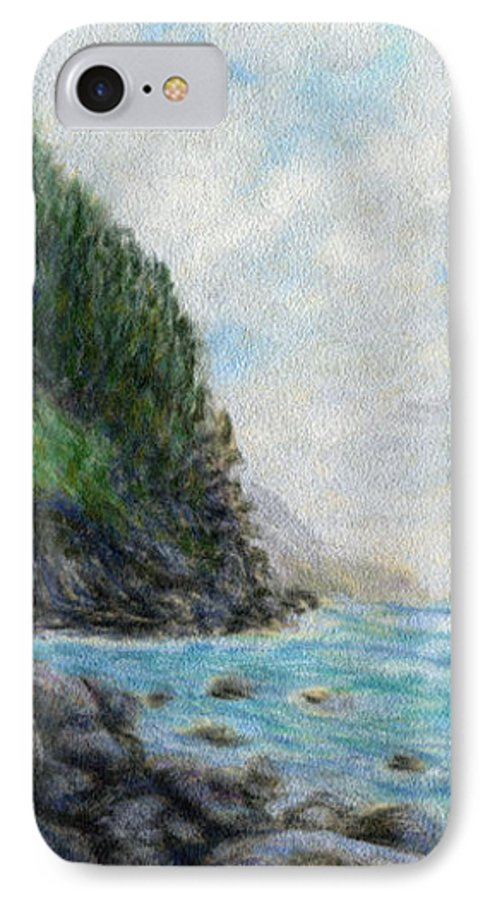 Rainbow Colors Pastel IPhone 7 Case featuring the painting Ke'e Rocks by Kenneth Grzesik