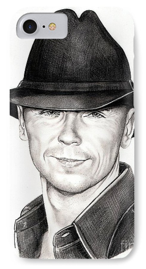 Portrait IPhone 7 Case featuring the drawing Kenny Chesney by Murphy Elliott
