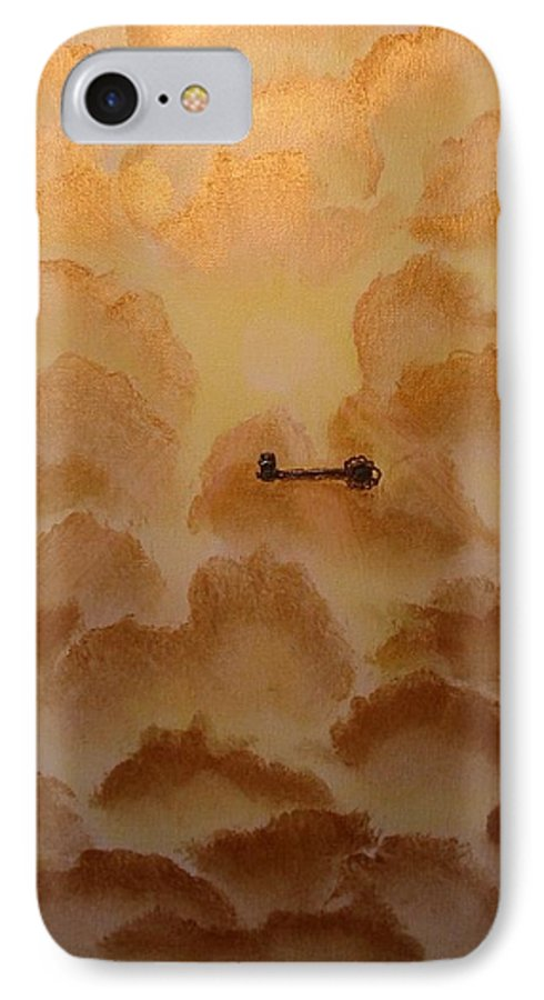Gold IPhone 7 Case featuring the painting Keys To The Kingdom by Laurie Kidd