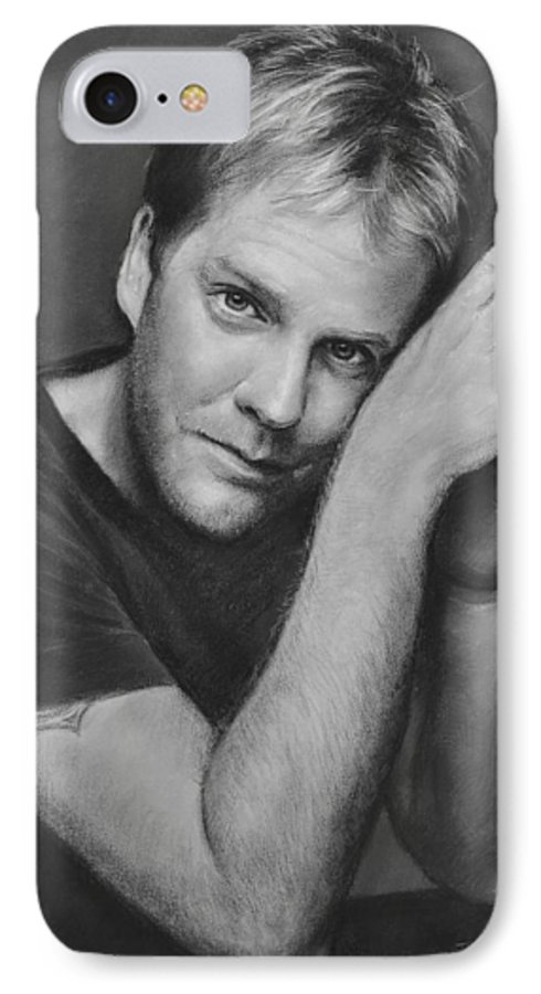 Portraits IPhone 7 Case featuring the drawing Kiefer Sutherland by Iliyan Bozhanov
