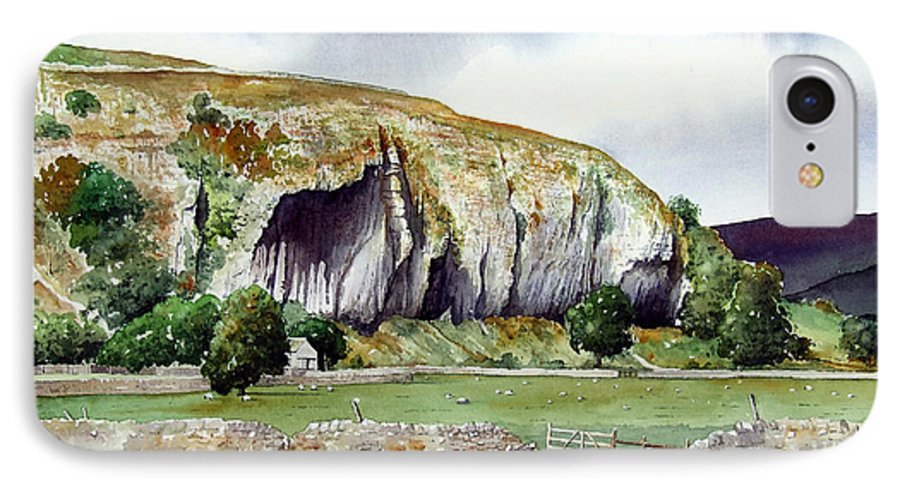 Landscape IPhone 7 Case featuring the painting Kilnsey Crag by Paul Dene Marlor