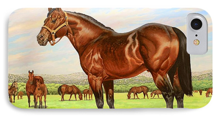 Quarter Horse IPhone 7 Case featuring the painting King P-234 No.two by Howard Dubois