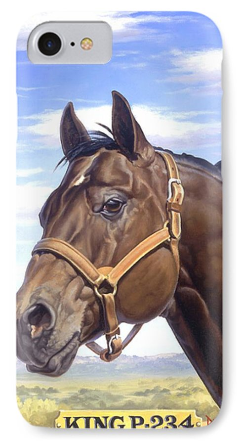 Quarter Horse IPhone 7 Case featuring the painting King P234 by Howard Dubois