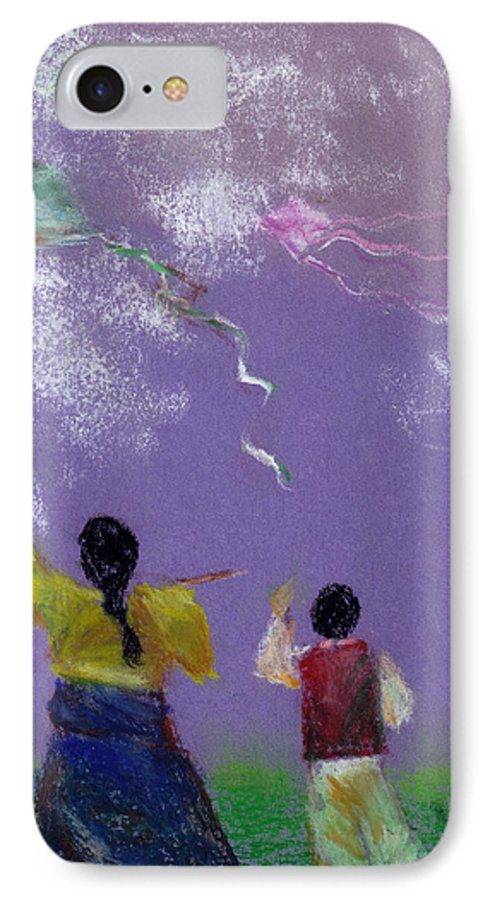 Flying Kite In A Sunny Day-oil Pastel IPhone 7 Case featuring the drawing Kite Flying by Mui-Joo Wee