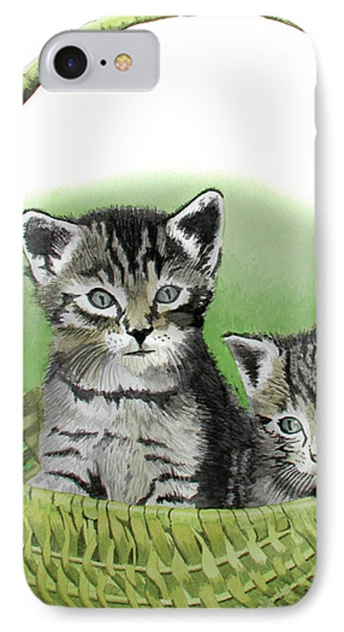 Cat IPhone 7 Case featuring the painting Kitty Caddy by Ferrel Cordle
