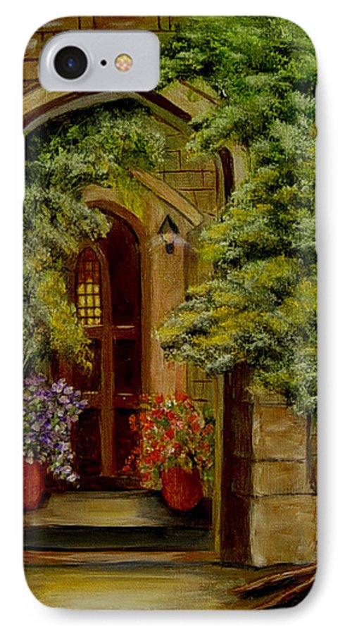 Door IPhone 7 Case featuring the painting Knight's Door by Quwatha Valentine