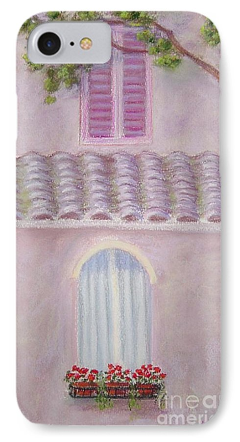 Window Boxes IPhone 7 Case featuring the painting La Casa Rosa Lunga Il Treve by Mary Erbert
