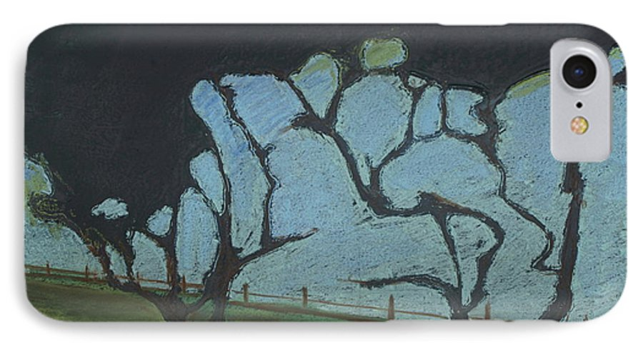 Contemporary Tree Landscape IPhone 7 Case featuring the mixed media La Jolla IIi by Leah Tomaino